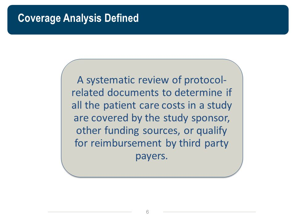 Coverage Analysis Defined 6 A systematic review of protocol- related documents to determine if all the patient care costs in a study are covered by th