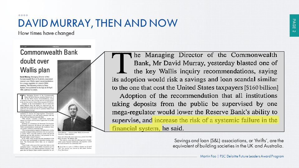 PAGE 2 Martin Foo | FSC Deloitte Future Leaders Award Program DAVID MURRAY, THEN AND NOW How times have changed Savings and loan (S&L) associations, o