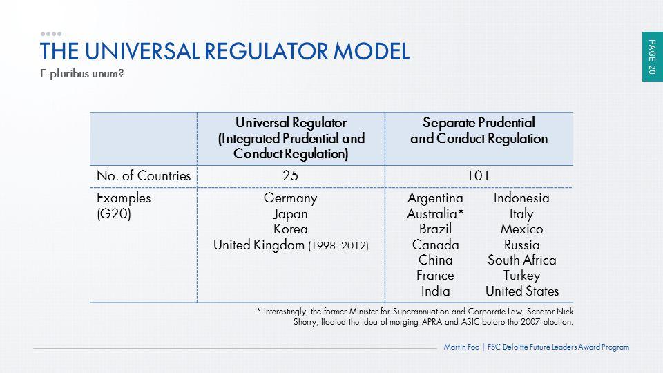 PAGE 20 Martin Foo   FSC Deloitte Future Leaders Award Program THE UNIVERSAL REGULATOR MODEL E pluribus unum.