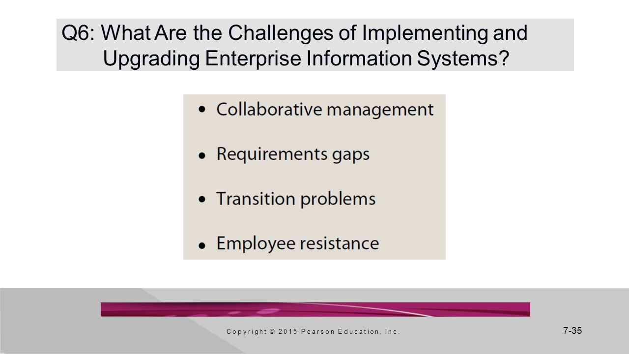 7-35 Q6: What Are the Challenges of Implementing and Upgrading Enterprise Information Systems.