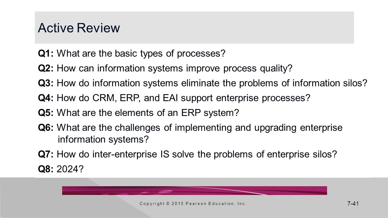 7-41 Active Review Q1: What are the basic types of processes.