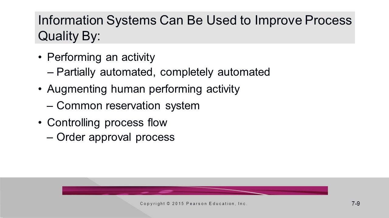 7-9 Information Systems Can Be Used to Improve Process Quality By: Performing an activity –Partially automated, completely automated Augmenting human performing activity –Common reservation system Controlling process flow –Order approval process Copyright © 2015 Pearson Education, Inc.
