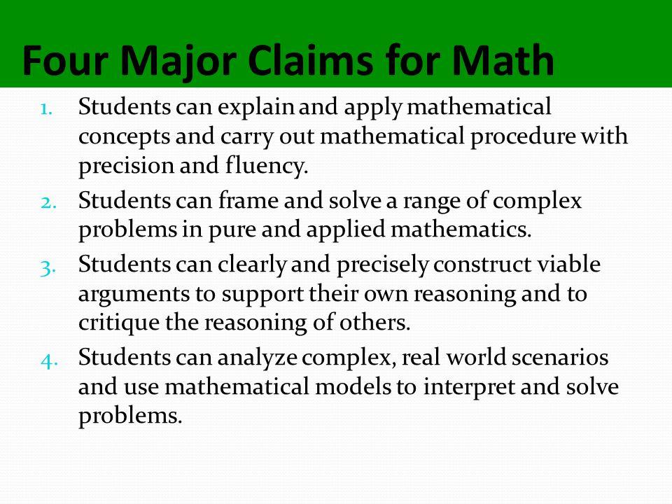 Four Major Claims for Math 1.