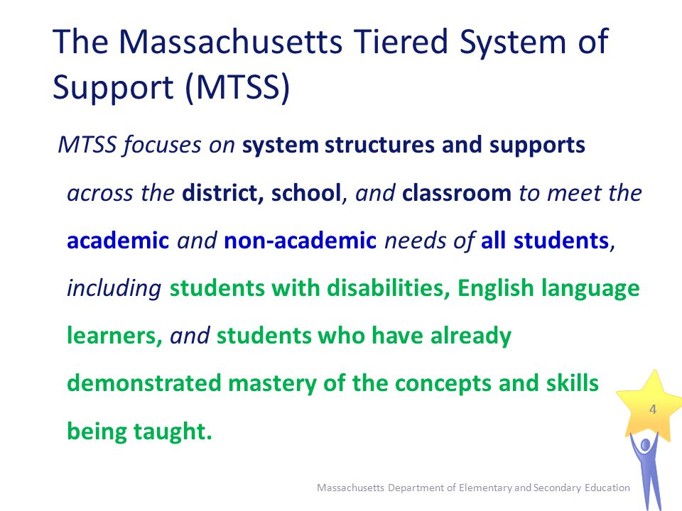ELA tiered system: Reading workshop Tier II: Small groups (5 to 7)  Grouped by need (Fluency; comprehension; decoding)  ELA teachers; Reading specialists; special education teachers; reading tutors; ESL specialists  Direct instruction; computer programs Massachusetts Department of Elementary and Secondary Education 25