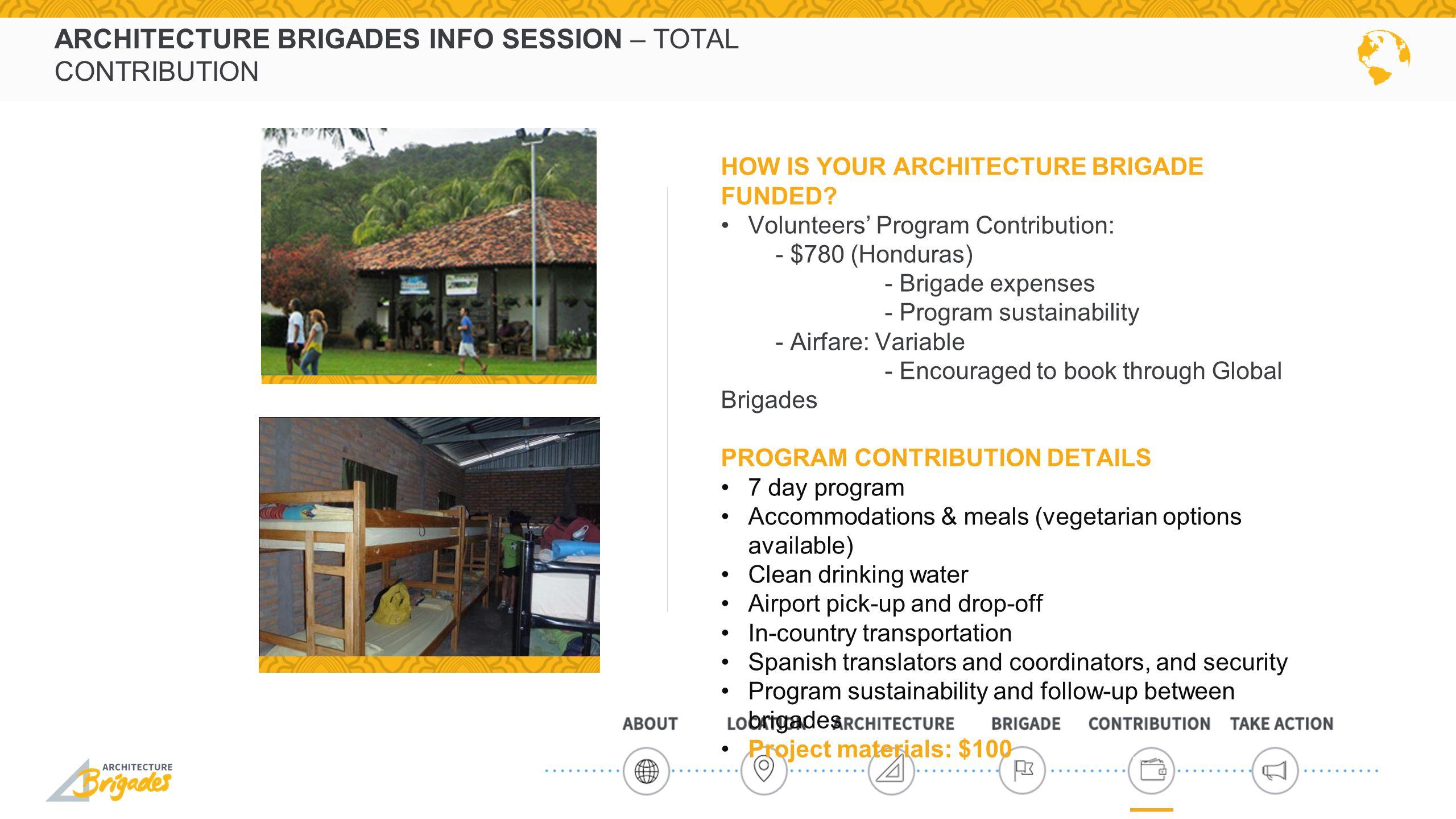 ARCHITECTURE BRIGADES INFO SESSION – TOTAL CONTRIBUTION HOW IS YOUR ARCHITECTURE BRIGADE FUNDED.