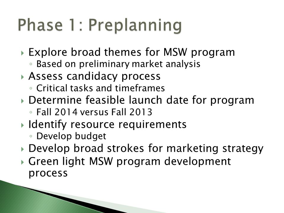 Explore broad themes for MSW program ◦ Based on preliminary market analysis  Assess candidacy process ◦ Critical tasks and timeframes  Determine feasible launch date for program ◦ Fall 2014 versus Fall 2013  Identify resource requirements ◦ Develop budget  Develop broad strokes for marketing strategy  Green light MSW program development process