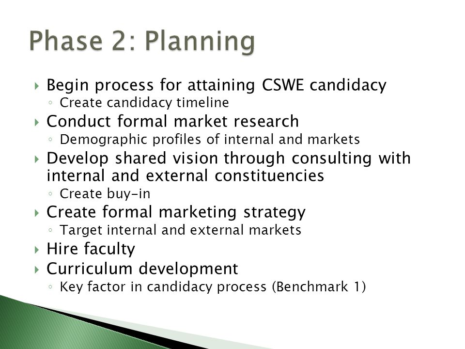  Begin process for attaining CSWE candidacy ◦ Create candidacy timeline  Conduct formal market research ◦ Demographic profiles of internal and markets  Develop shared vision through consulting with internal and external constituencies ◦ Create buy-in  Create formal marketing strategy ◦ Target internal and external markets  Hire faculty  Curriculum development ◦ Key factor in candidacy process (Benchmark 1)