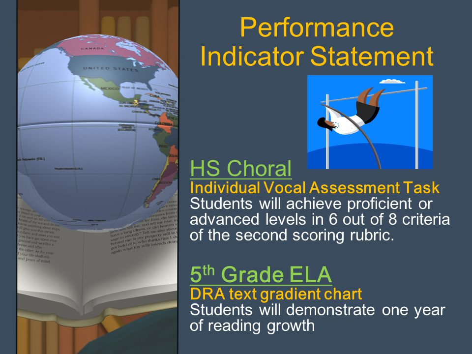 Performance Indicator Statement HS Choral Individual Vocal Assessment Task Students will achieve proficient or advanced levels in 6 out of 8 criteria of the second scoring rubric.