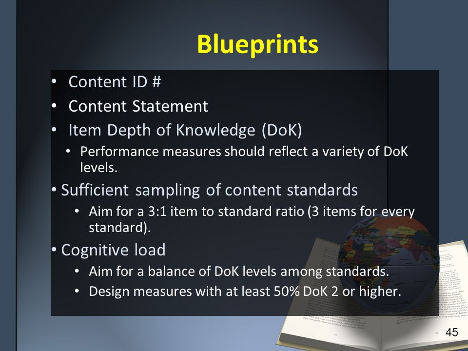 Blueprints Content ID # Content Statement Item Depth of Knowledge (DoK) Performance measures should reflect a variety of DoK levels.