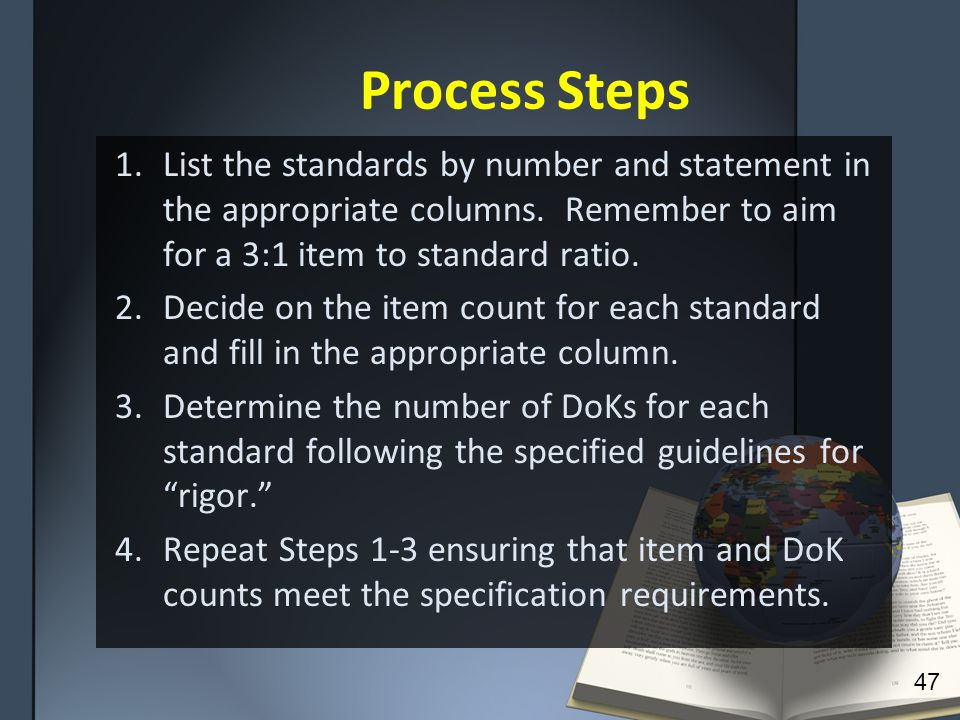 Process Steps 1.List the standards by number and statement in the appropriate columns.