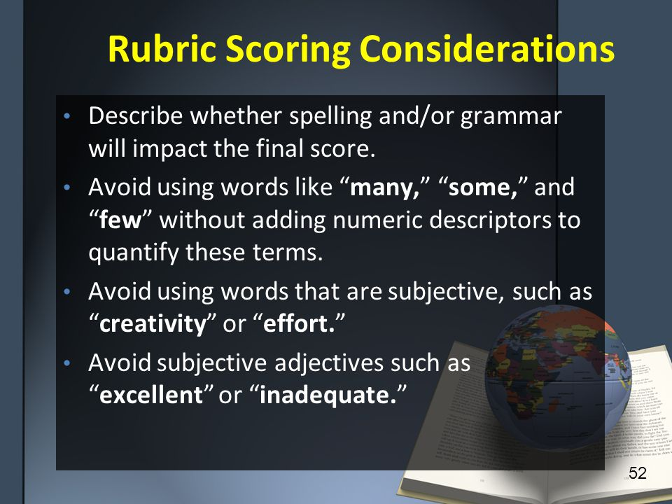 Rubric Scoring Considerations Describe whether spelling and/or grammar will impact the final score.