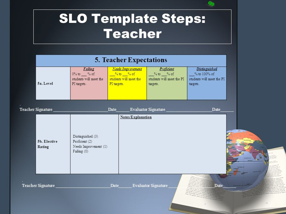 SLO Template Steps: Teacher 5. Teacher Expectations 5a.