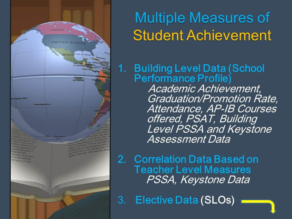 Multiple Measures of Student Achievement Multiple Measures of Student Achievement 1.Building Level Data (School Performance Profile) Academic Achievement, Graduation/Promotion Rate, Attendance, AP-IB Courses offered, PSAT, Building Level PSSA and Keystone Assessment Data 2.Correlation Data Based on Teacher Level Measures PSSA, Keystone Data 3.