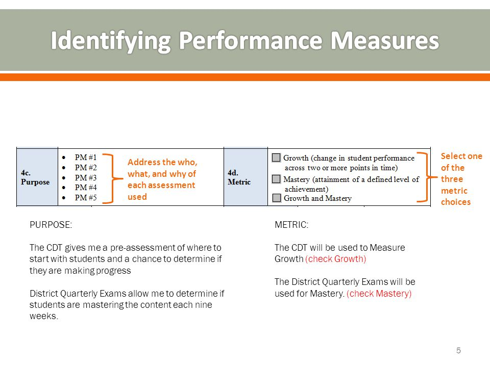 Address the who, what, and why of each assessment used Select one of the three metric choices PURPOSE: The CDT gives me a pre-assessment of where to start with students and a chance to determine if they are making progress District Quarterly Exams allow me to determine if students are mastering the content each nine weeks.