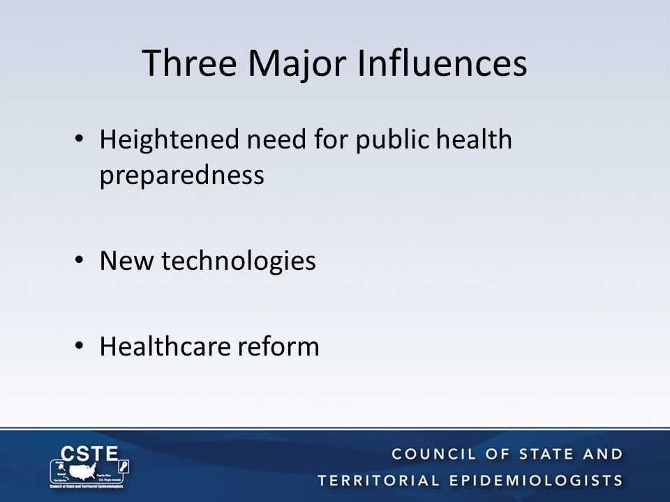 CSTE Approach to Rethinking Surveillance Strategy Meeting of 40 public health leaders in Denver, Feb.