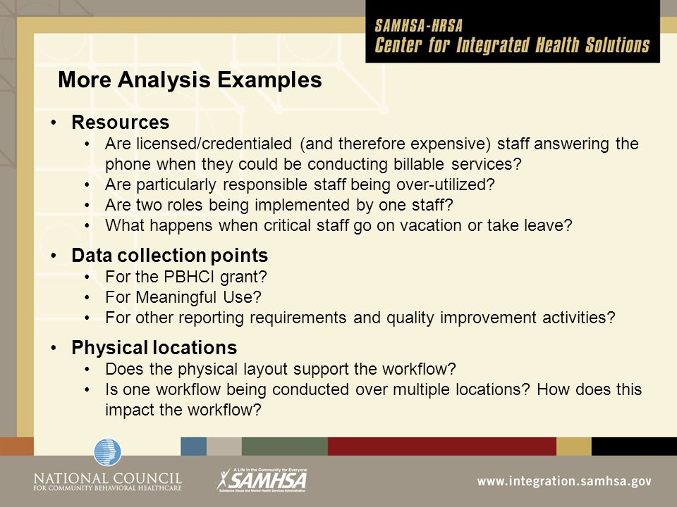 More Analysis Examples Resources Are licensed/credentialed (and therefore expensive) staff answering the phone when they could be conducting billable services.