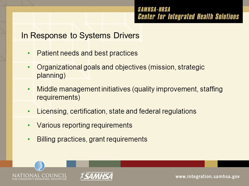 In Response to Systems Drivers Patient needs and best practices Organizational goals and objectives (mission, strategic planning) Middle management initiatives (quality improvement, staffing requirements) Licensing, certification, state and federal regulations Various reporting requirements Billing practices, grant requirements