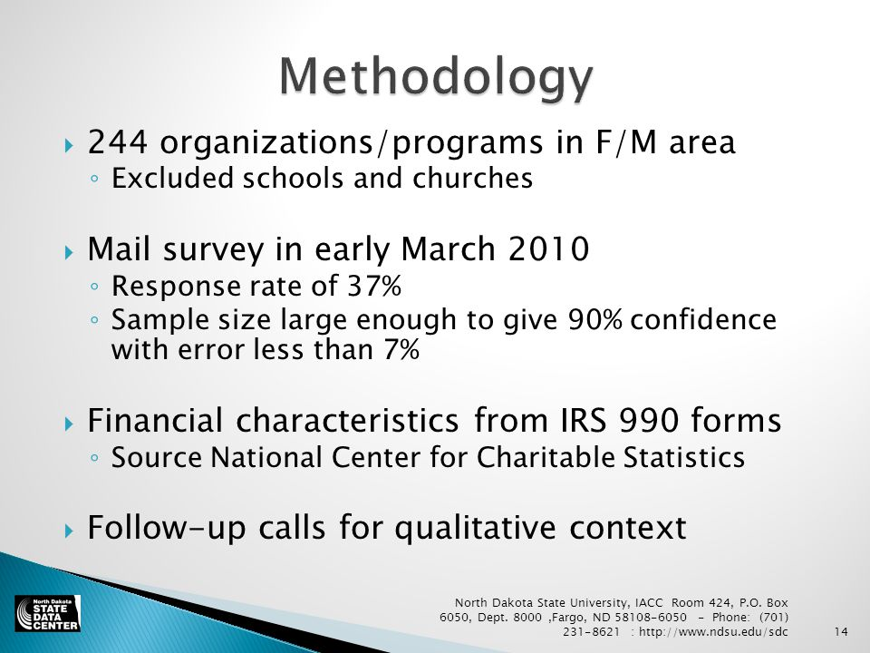  244 organizations/programs in F/M area ◦ Excluded schools and churches  Mail survey in early March 2010 ◦ Response rate of 37% ◦ Sample size large enough to give 90% confidence with error less than 7%  Financial characteristics from IRS 990 forms ◦ Source National Center for Charitable Statistics  Follow-up calls for qualitative context North Dakota State University, IACC Room 424, P.O.