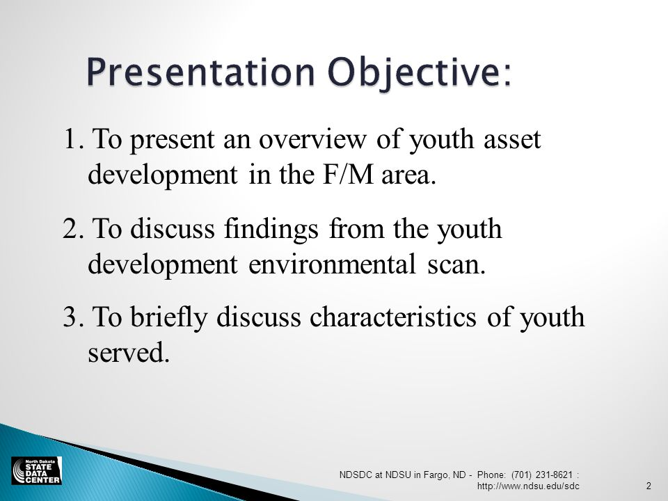 2. To discuss findings from the youth development environmental scan.