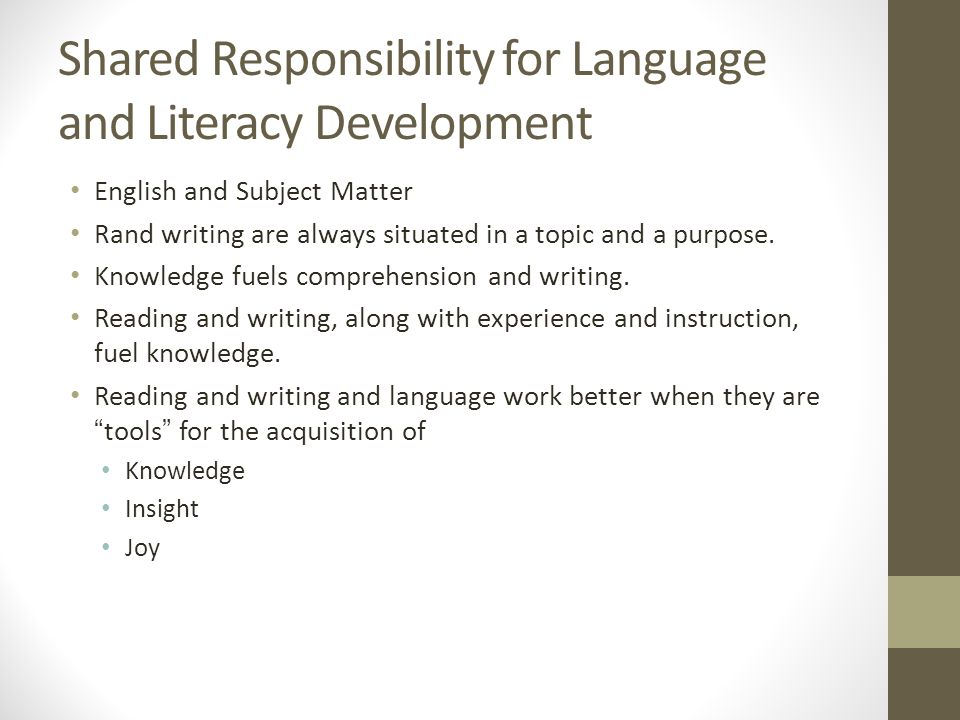 Shared Responsibility for Language and Literacy Development English and Subject Matter Rand writing are always situated in a topic and a purpose.