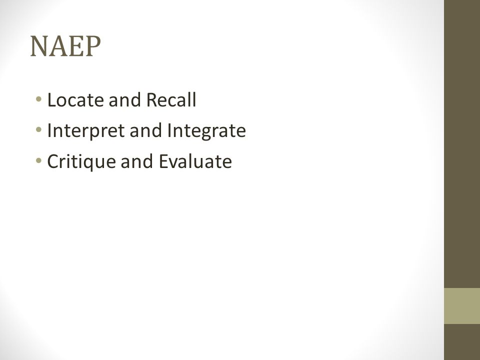 NAEP Locate and Recall Interpret and Integrate Critique and Evaluate