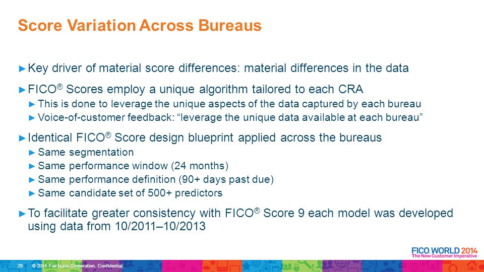 © 2014 Fair Isaac Corporation. Confidential. ► Key driver of material score differences: material differences in the data ► FICO ® Scores employ a uni