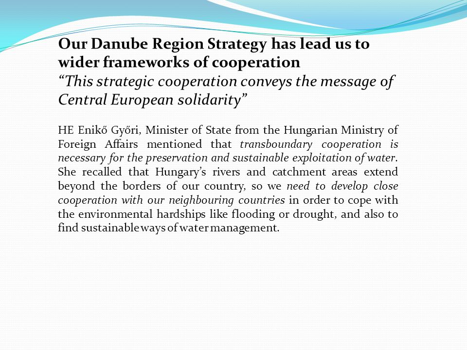 Member States must take the Danube Strategy into account as they plan the next generation of programmes under regional policy for 2014-2020 Smart and sustainable growth for the Region is to be ensured, joint monitoring of water quality, development of common databases and common river modelling systems and other coordinated measures are needed for effective, sustainable and joint policy making Mr.