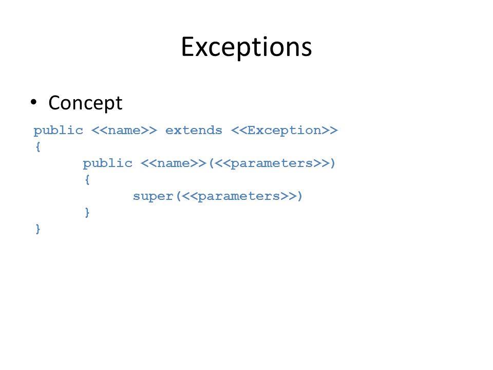 Exceptions Concept public > extends > { public >( >) { super( >) }