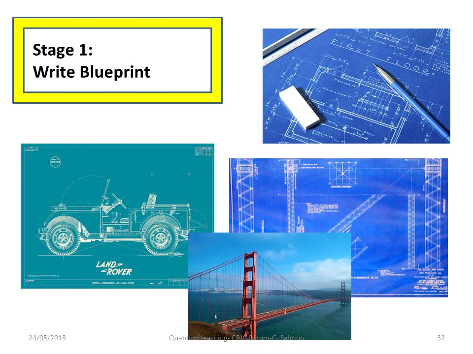 Stage 1: Write Blueprint 24/05/2013Quantum learning- CRIG Forum-G. Salmon32
