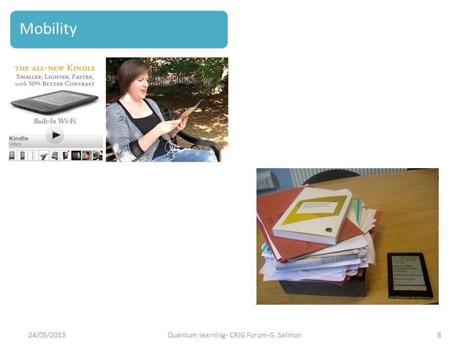 Framework for LATT strategy 24/05/2013Quantum learning- CRIG Forum-G. Salmon8 Mobility