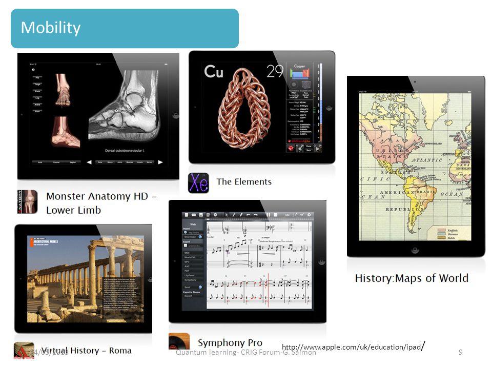 http://www.apple.com/uk/education/ipad / Mobility 24/05/20139Quantum learning- CRIG Forum-G. Salmon