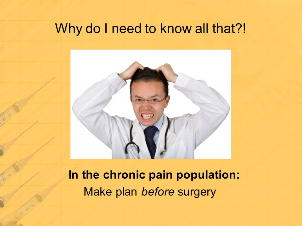 Why do I need to know all that?! In the chronic pain population: Make plan before surgery