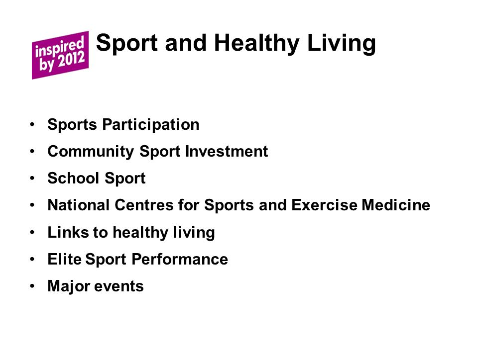Sport and Healthy Living Sports Participation Community Sport Investment School Sport National Centres for Sports and Exercise Medicine Links to healthy living Elite Sport Performance Major events