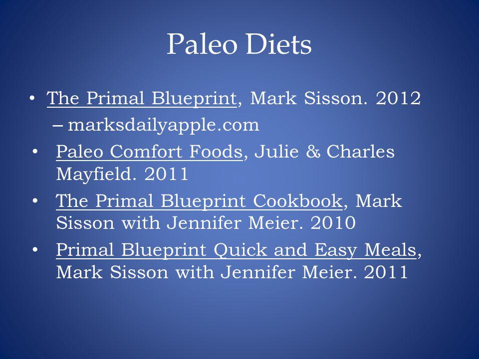Paleo Diets The Primal Blueprint, Mark Sisson. 2012 – marksdailyapple.com Paleo Comfort Foods, Julie & Charles Mayfield. 2011 The Primal Blueprint Coo