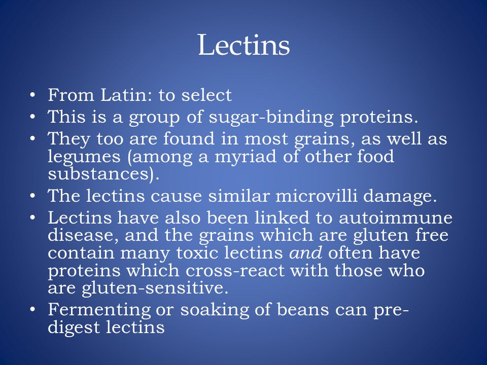 Lectins From Latin: to select This is a group of sugar-binding proteins.