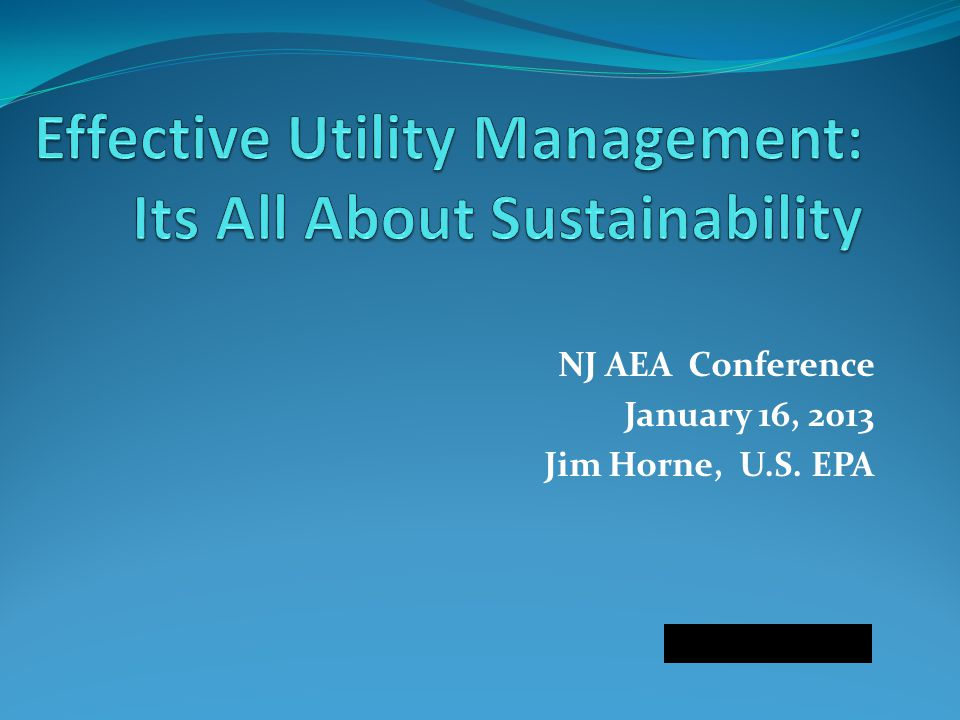NJ AEA Conference January 16, 2013 Jim Horne, U.S. EPA