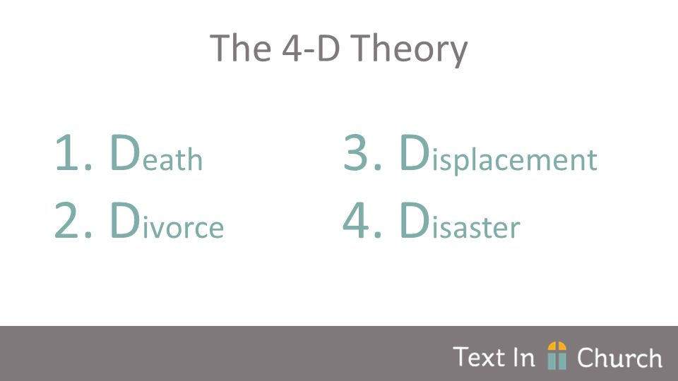 The 4-D Theory 1.D eath 2.D ivorce 3.D isplacement 4.D isaster
