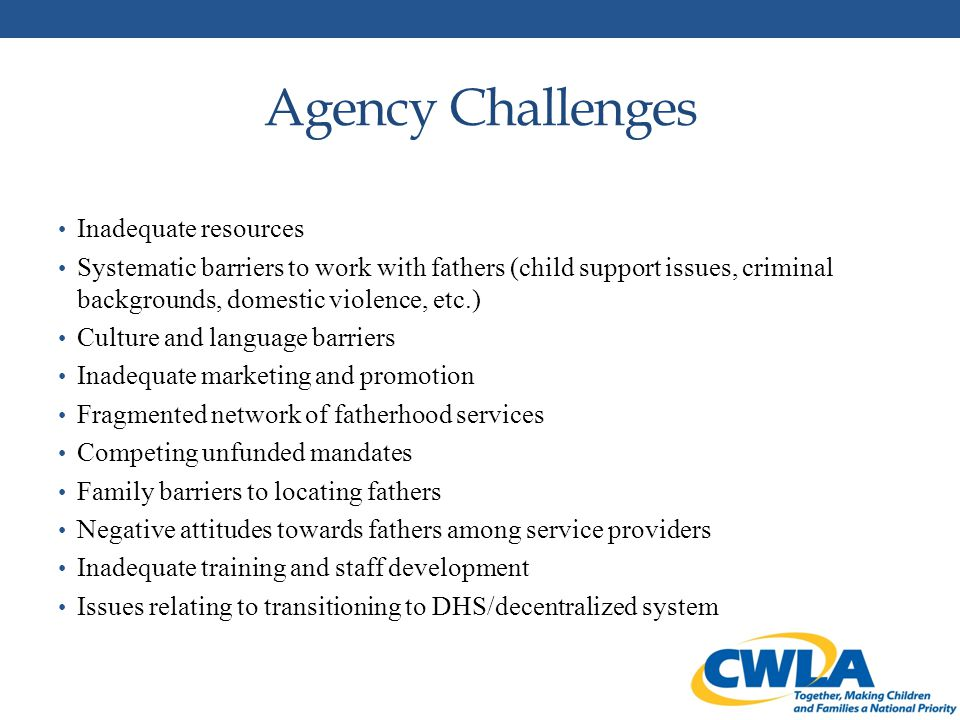 Agency Challenges Inadequate resources Systematic barriers to work with fathers (child support issues, criminal backgrounds, domestic violence, etc.) Culture and language barriers Inadequate marketing and promotion Fragmented network of fatherhood services Competing unfunded mandates Family barriers to locating fathers Negative attitudes towards fathers among service providers Inadequate training and staff development Issues relating to transitioning to DHS/decentralized system