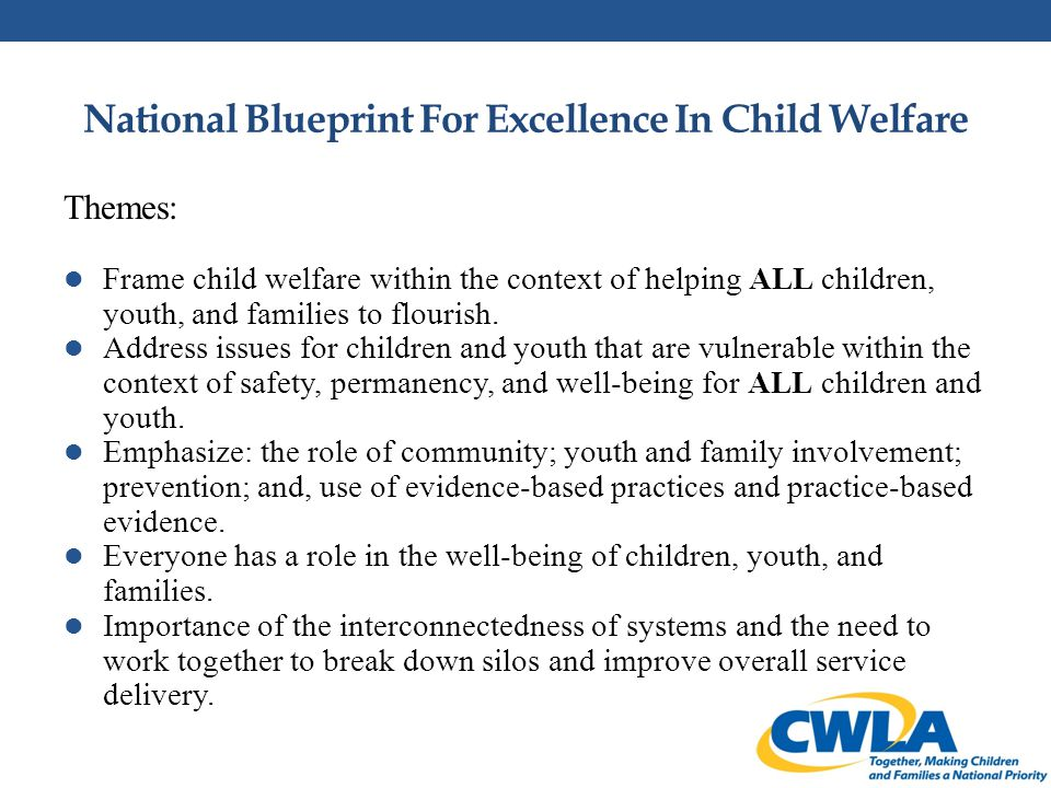 National Blueprint For Excellence In Child Welfare Principles: Rights of Children Shared Responsibility and Leadership Engagement/Participation Supports and Services Quality Improvement Workforce Race, Ethnicity, and Culture Funding and Resources