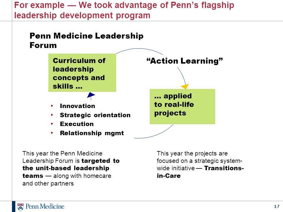 17 For example — We took advantage of Penn's flagship leadership development program This year the Penn Medicine Leadership Forum is targeted to the u