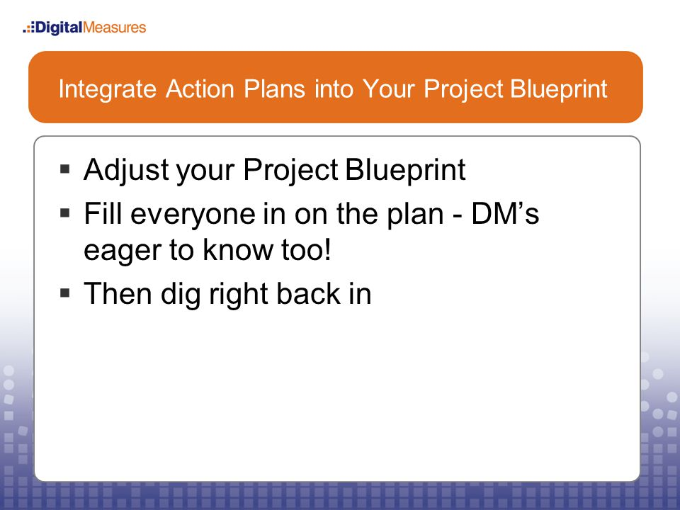Integrate Action Plans into Your Project Blueprint  Adjust your Project Blueprint  Fill everyone in on the plan - DM's eager to know too.