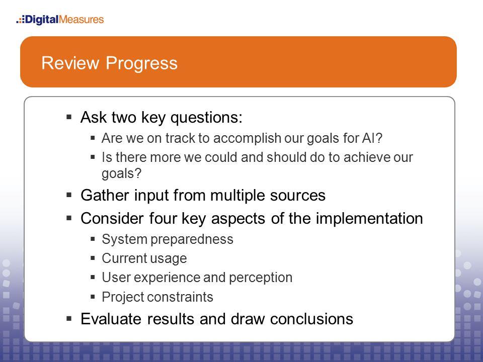 Review Progress System Preparedness: User Accounts