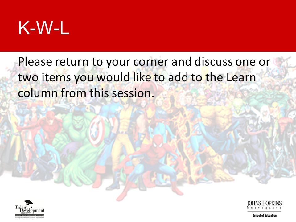 K-W-L Please return to your corner and discuss one or two items you would like to add to the Learn column from this session.