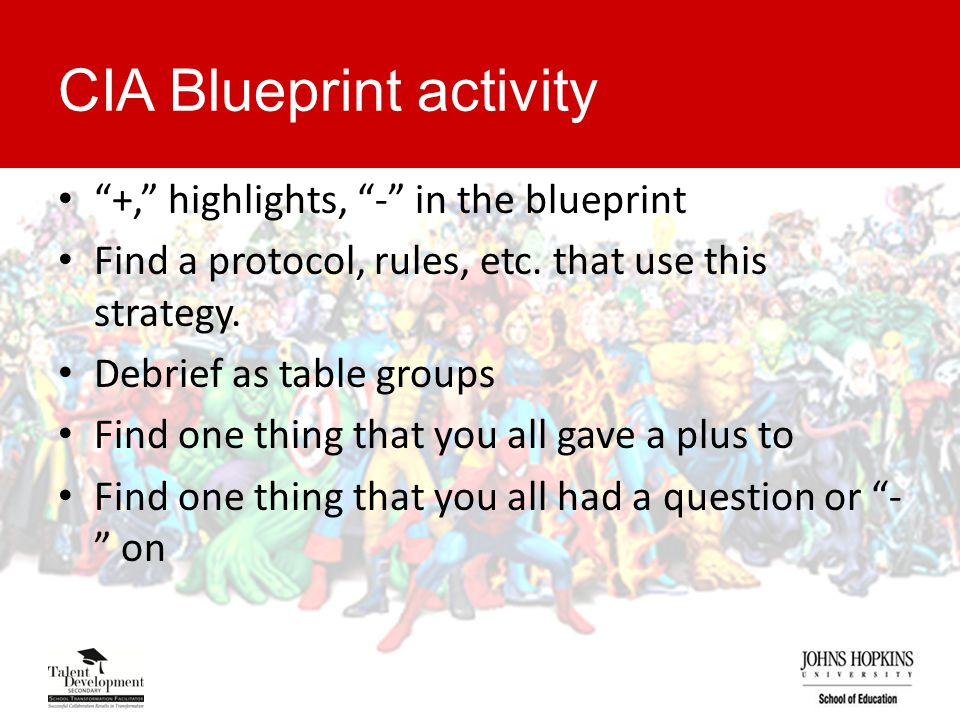 CIA Blueprint activity +, highlights, - in the blueprint Find a protocol, rules, etc.