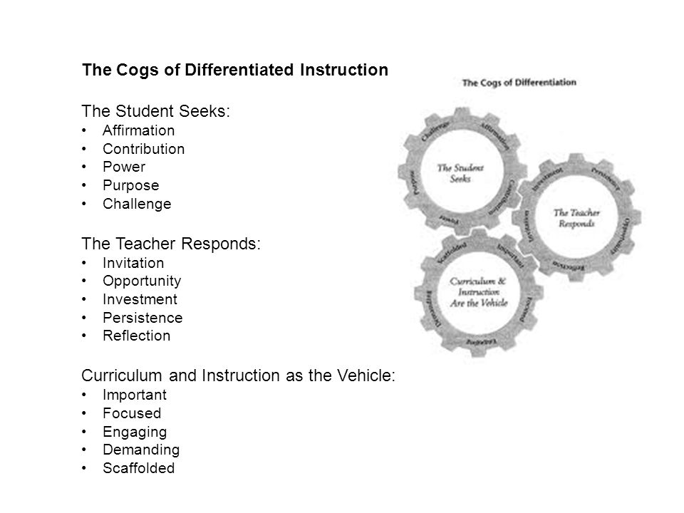 The Cogs of Differentiated Instruction The Student Seeks: Affirmation Contribution Power Purpose Challenge The Teacher Responds: Invitation Opportunity Investment Persistence Reflection Curriculum and Instruction as the Vehicle: Important Focused Engaging Demanding Scaffolded