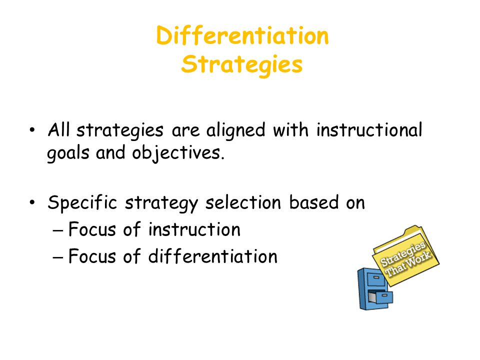 Differentiation Strategies All strategies are aligned with instructional goals and objectives.
