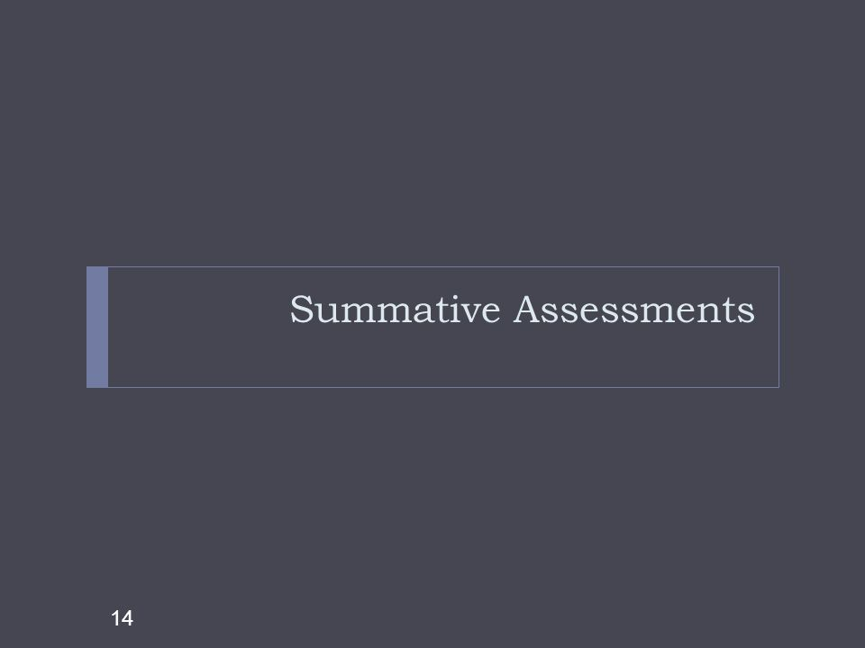 Summative Assessments 14