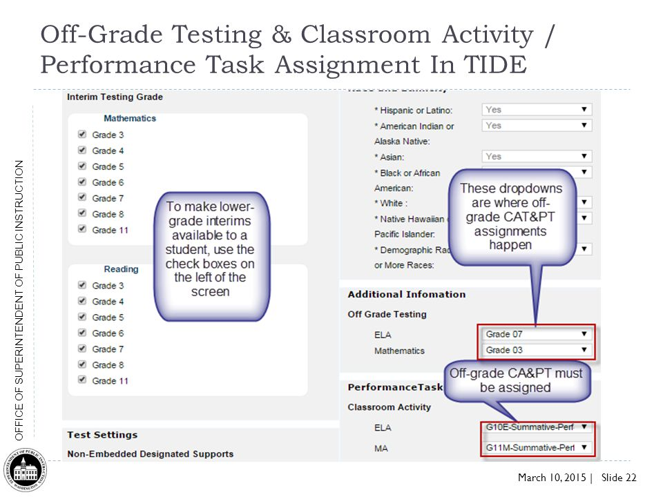 March 10, 2015 | Slide 22 OFFICE OF SUPERINTENDENT OF PUBLIC INSTRUCTION Off-Grade Testing & Classroom Activity / Performance Task Assignment In TIDE