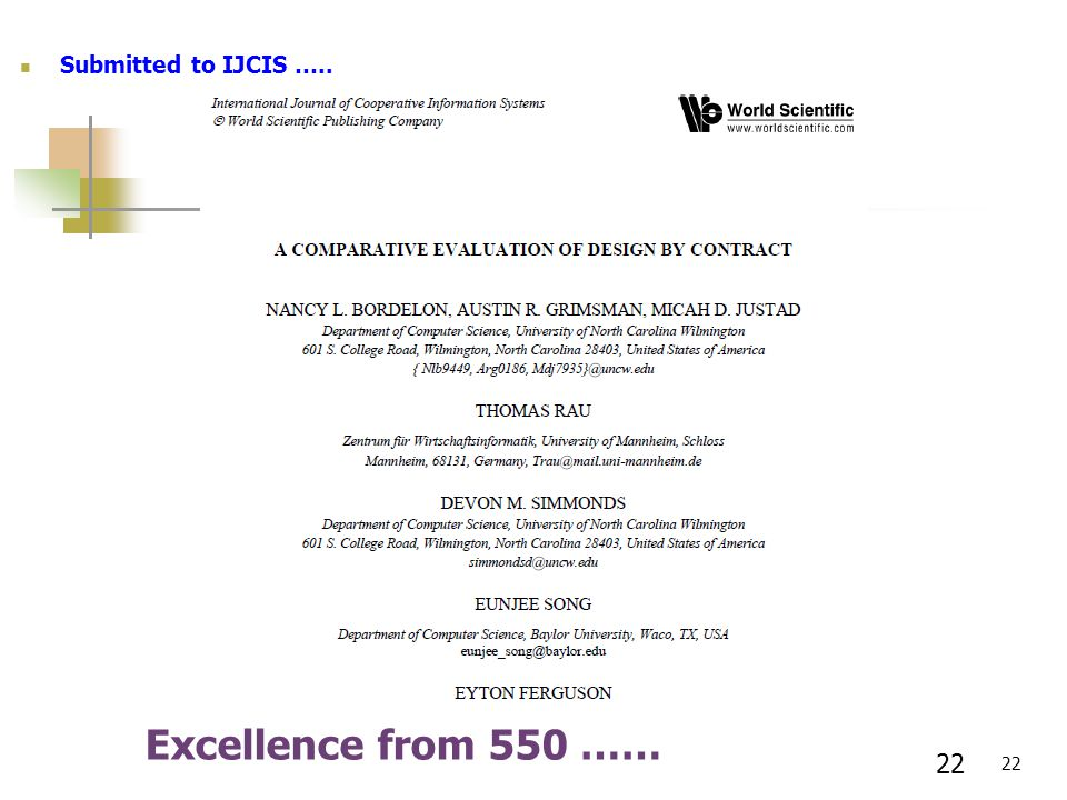 22 Excellence from 550 …… Submitted to IJCIS ….. 22