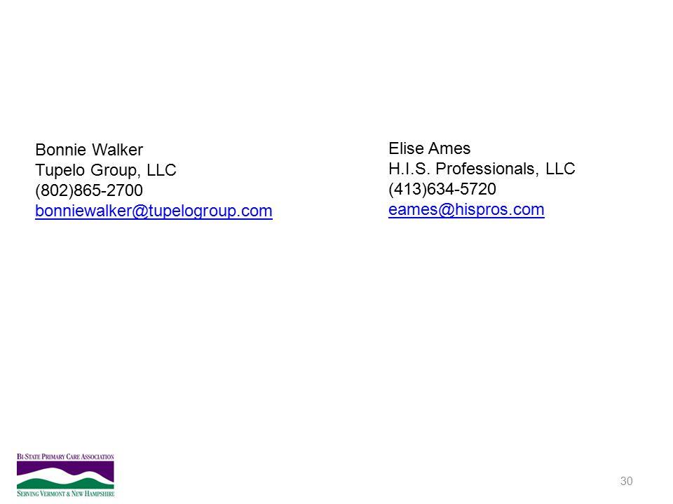 30 Bonnie Walker Tupelo Group, LLC (802)865-2700 bonniewalker@tupelogroup.com Elise Ames H.I.S. Professionals, LLC (413)634-5720 eames@hispros.com